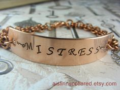 Mistress Handstamped Copper Chainmaille by aislinnscollared, $20.00