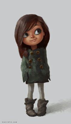 little girls, zac retz, retz art, charact design, art girl