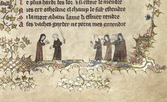 Nuns and monks playing a bat and ball game in Oxford, Bodleian Library MS Bodley 264.