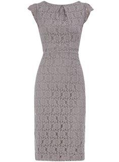 Petite grey lace pencil dress