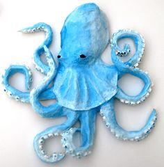 Octopus Wall Art, Paper Mache Sculpture,Hand Made Blue Octopus.. $78.00, via Etsy.