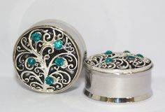 Silver and Crystal Tree Plugs 7/8 1 Inch 22mm 25mm