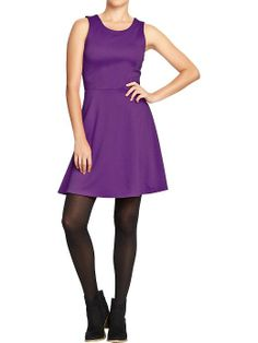 Old Navy ponte-knit fit and flare dress, purple