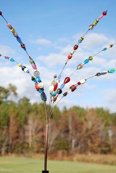 Beaded Blossoms -- Garden Bead Art -  Wire Suncatcher Sculptures - Beaded Flowers