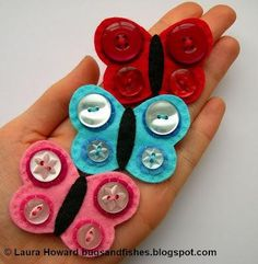 DIY Button Craft: DIY Butterfly Brooches