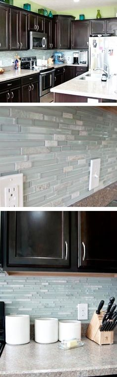 The Merola Tessera Tile in Piano Ming looks gorgeous against the black cabinets in this customer's kitchen!.