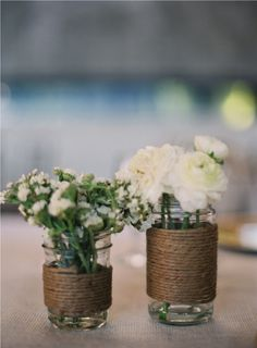 Twine wrapped around recycled jars