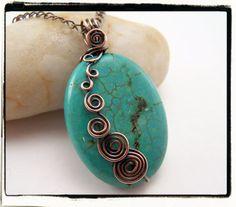 wire wrap, diy crafts, antiqu copper, pendant, jewelry bracelets, copper spiral, blue turquois, copper crafts, the wire