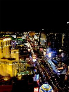 The Las Vegas strip at night from the Eiffel Tower