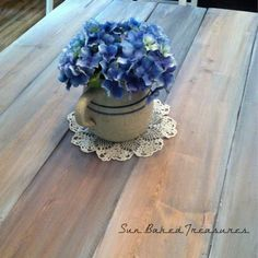 Farmhouse table..I stained & white washed. Am debating a wax or poly finish
