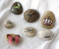 Word Stones, set of 7. Dream, Hope, Strive, Lasting, French Crown, Rooster, Butterfly. French Country decor.