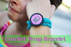 Make a Crochet Wrap Bracelet.  A great Summer craft idea for kids and tweens!  www.clubchicacircle.com