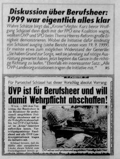 #Wehrpflicht Debatte - #Berufsheer bereits #1999 von #Schüssel #ÖVP geplant - http://pinterest.com/freiheitlichen/parteifreunde/ #Wien #Vienna #Austria #FPOE #hcstrache