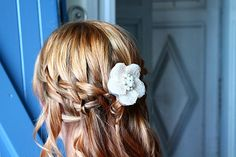 Pretty double waterfall plait with a pretty brooch from www.lolaandi.co.uk. Perfect for a #romantic wedding