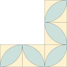 Block Leaf Quilt Border Pattern for Corners