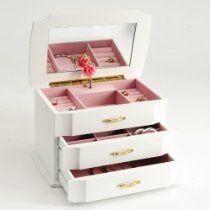 Seya White Musical Children's Jewelry Box with Ballerina Style No. MPM-212