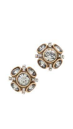 Shop now: Oscar de la Renta Crystal Button Earrings