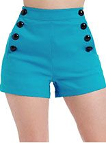New Arrivals - Blue Note Pin-Up High-Waist Shorts by Voodoo Vixen Clothing