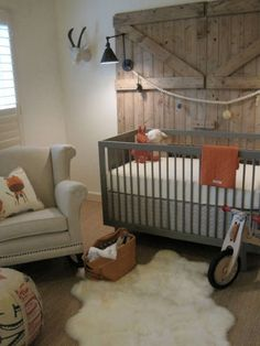 Nice rustic, yet clean nursery option for a boy. Am really interested in gray cribs.