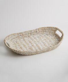 Oval-Handle Abaca Tray//