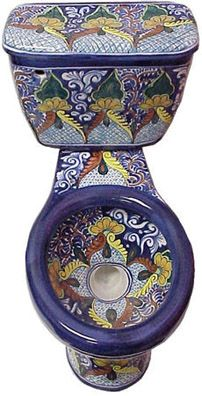 A handpainted Mexican ceramic toilet. Definitely for the true majolica enthusiast!
