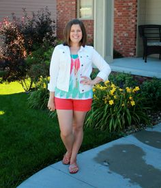 Ikat, white denim, and red shorts