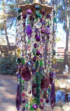 crystals, bohemian house diy, craft, purple, colors, bohemian wind, wind chimes, crystal windchimes, garden