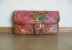 Hand Painted Tooled Leather Clutch Tooled by HEIDIABRAOUTLET