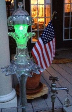 Yard Art with solar light that changes colors. Beautiful....