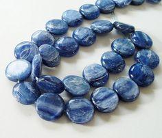 Blue Silverish Round Smooth Coin Kyanite Beads AAA by BijiBijoux,Gorgeous gemstone!