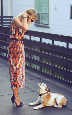 fab ikat dress + simple black heels + a doggie wondering where the heck you think you're going