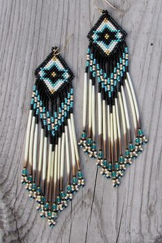 Porcupine Quill Earrings With Star Design  by CreationsbyWhiteWolf