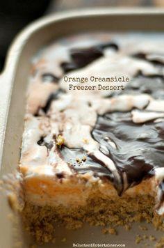 Orange Creamsicle Freezer Dessert perfect for Labor Day entertaining! ReluctantEntertainer.com