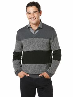 Rugby Stripe V-Neck Sweater