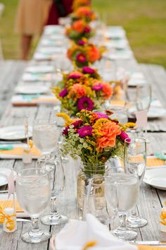 Rustic winery wedding with pops of bright color