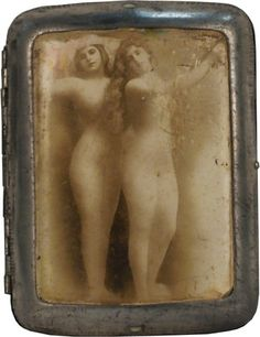 Silver Plated Embossed Cigarette Case/Box w/ 2 nude ladies on cover c1890