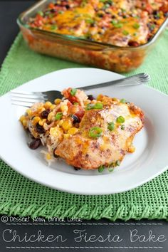 Chicken Fiesta Bake - This meal could not be simpler & it is full of vibrant colors making it fun to look at & eat. DessertNowDinnerLater.com #chicken #casserole #recipe chicken fiesta, fiesta bake, vibrant color, fiesta food, food fight, meal