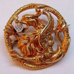 Antique Victorian Gold and Diamond Griffin Brooch from camelot-cameos-antiques on Ruby Lane