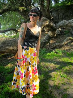 Refashion Co-op: Table cloth skirt