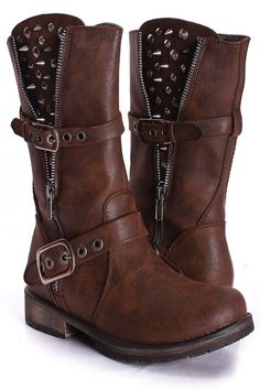 BROWN FAUX LEATHER MID CALF STUDDED EXPOSED FLAP BUCKLE STRAP FINISHED BOOTS $34.99