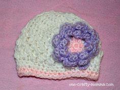 Free newborn crochet flower hat pattern