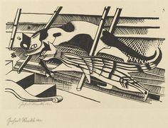 By Gerhard Marcks (1889-1981), 1921, Cats (Die Katzen) from the portfolio New European Graphics, 1st Portfolio: Masters of the State Bauhaus, Weimar.