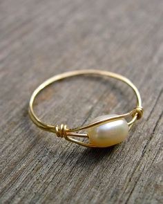 Freshwater Pearl Ring Wire Wrapped Ring in 14K