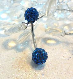 Belly ring, bellybutton ring with Montana blue crystal balls 16ga | YOUniqueDZigns - Jewelry on ArtFire