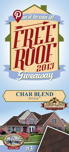 Re-pin this gorgeous Art-Loc Char Blend Shingle for your chance to win in the Sherriff-Goslin Pin It To Win It FREE ROOF Giveaway. Available in Sherriff-Goslin service area only. Re-pin weekly for more chances to win! | Stay Updated! Click the following link to receive contest updates. http://www.sherriffgoslin.com/repin Learn More about this shingle here: http://www.sherriffgoslin.com/tabbed.php?section_url=140
