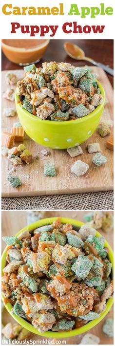 Caramel Apple Puppy Chow Recipe #desserts #snacks #recipe #apple #caramel