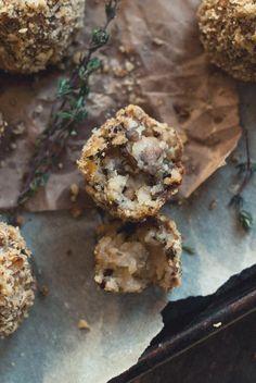 Potato-Mushroom Balls with Romano & Walnut Crumbs.