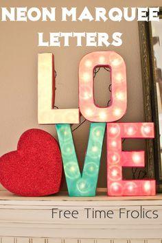 neon marquee letters www.freetimefrolics.com #diy #marqueeletters