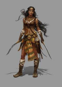 This is one BAD ASS female warrior. I love the detailing on her boots and her crossbow, though would've liked to have seen more of a sari style to her garments, either in cut or fabric. Still, she looks so confident and powerful. Rise of Heroes by Grafit , via Behance