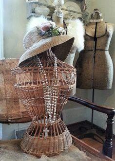 Vintage wicker dress form~eBay